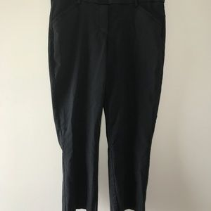 Black Cropped Pull-On Career Pants Size 12